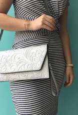 Happy Wahine Clutch Victoria Hibiscus Silver Embossed
