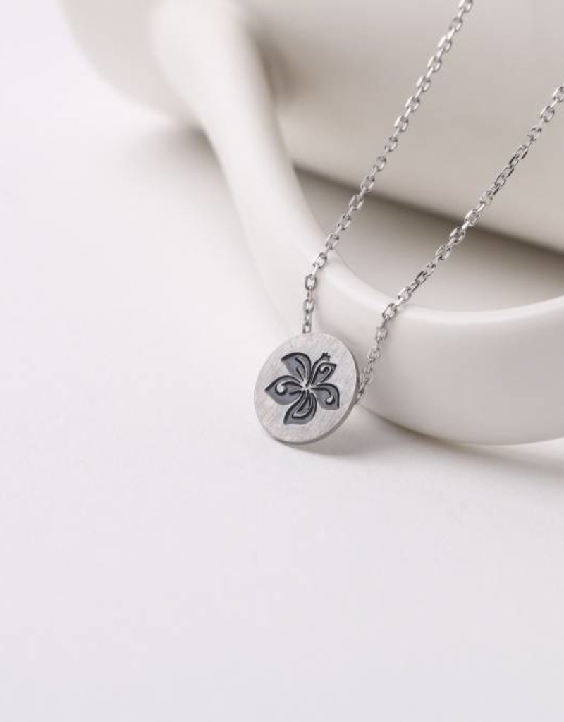 Happy Wahine Necklace Aloha Hibiscus Silver