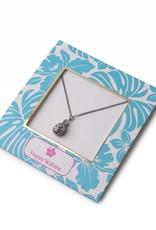 Happy Wahine Necklace Aloha Pineapple Silver