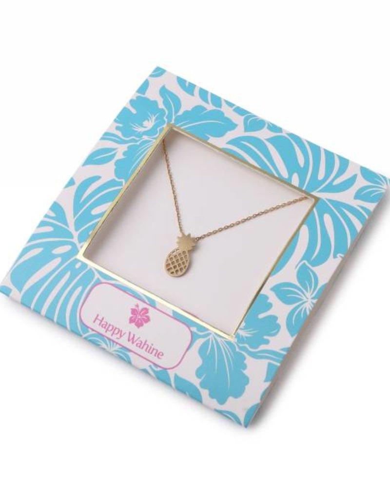 Happy Wahine Necklace Aloha Pineapple Puka Silver