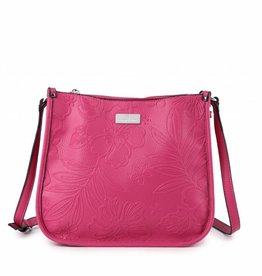 Happy Wahine Crossbody Emma Hibiscus Blossom Embossed Pink