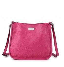 e64538201 Happy Wahine Crossbody Emma Hibiscus Blossom Embossed Pink