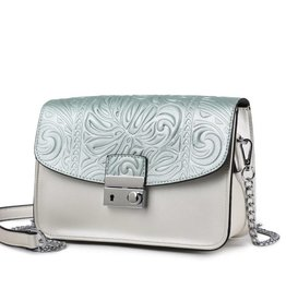Happy Wahine Crossbody Janice Flap Monstera Embossed Green