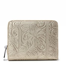 Happy Wahine Wallet Meily Monstera Embossed Gold Metallic
