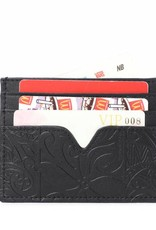 Happy Wahine Card Case Meilany Tapa Tiare Embossed Black