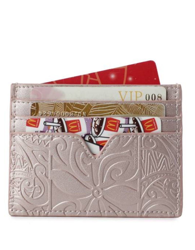 Happy Wahine Card Case Meilany Tapa Tiare Embossed Pink Metallic