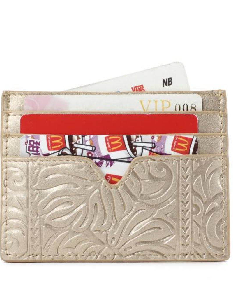 Happy Wahine Card Case Meilany Monstera Embossed Gold Metallic