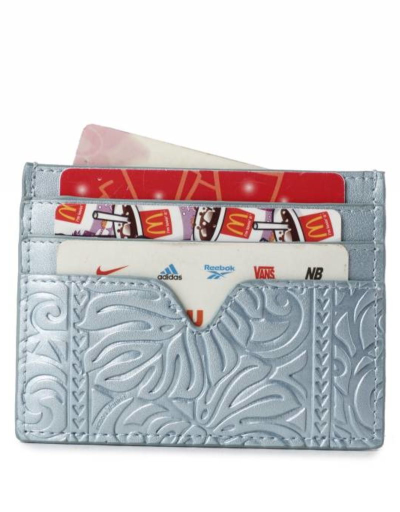 Happy Wahine Card Case Meilany Monstera Embossed Light Blue Metallic