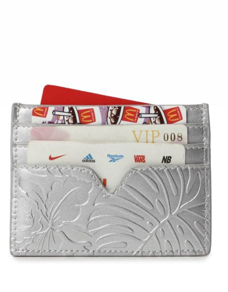 Happy Wahine Card Case Meilany Monstera Orchid Silver
