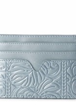 Card Case Meilany Monstera Embossed Light Blue Metallic
