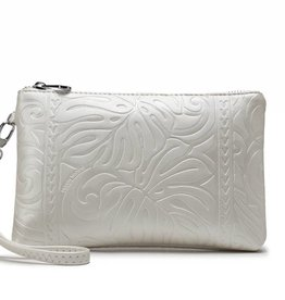 Happy Wahine Wristlet Melody Monstera Embossed Ivory Metallic