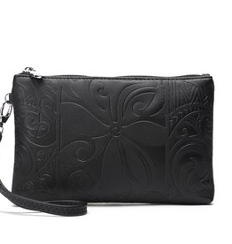 Happy Wahine Wristlet Melody Tapa Tiare Embossed Black