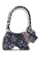 Happy Wahine Purse Hook Dog Hibiscus Blossom Blue