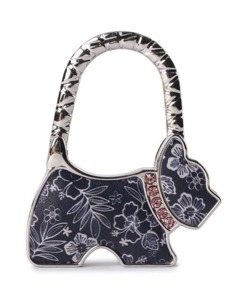 Purse Hook Dog Hibiscus Blossom Blue
