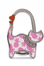 Happy Wahine Purse Hook Cat Tapa Pineapple Pink