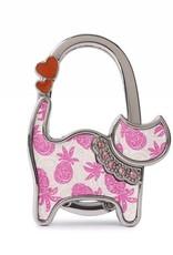 Purse Hook Cat Tapa Pineapple Pink