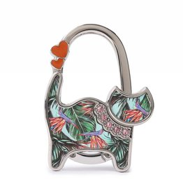Purse Hook Cat Bird of Paradise Blue