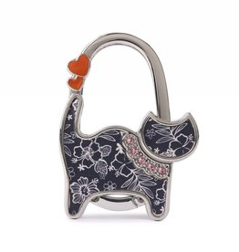 Purse Hook Cat Hibiscus Blossom Blue