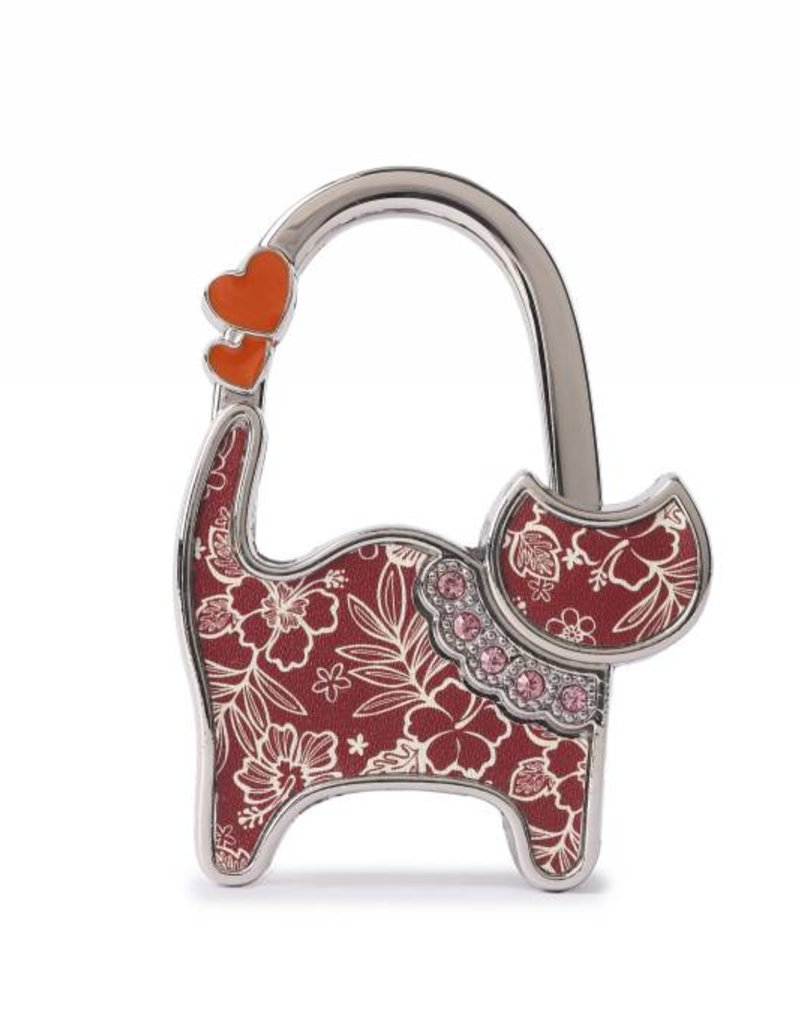 Happy Wahine Purse Hook Cat Hibiscus Blossom Red