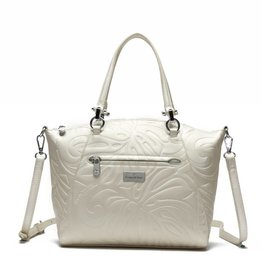 Happy Wahine Tote Hannah Monstera Embossed Ivory
