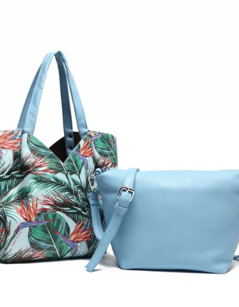 Happy Wahine Handbag Kuuipo Bird of Paradise Blue