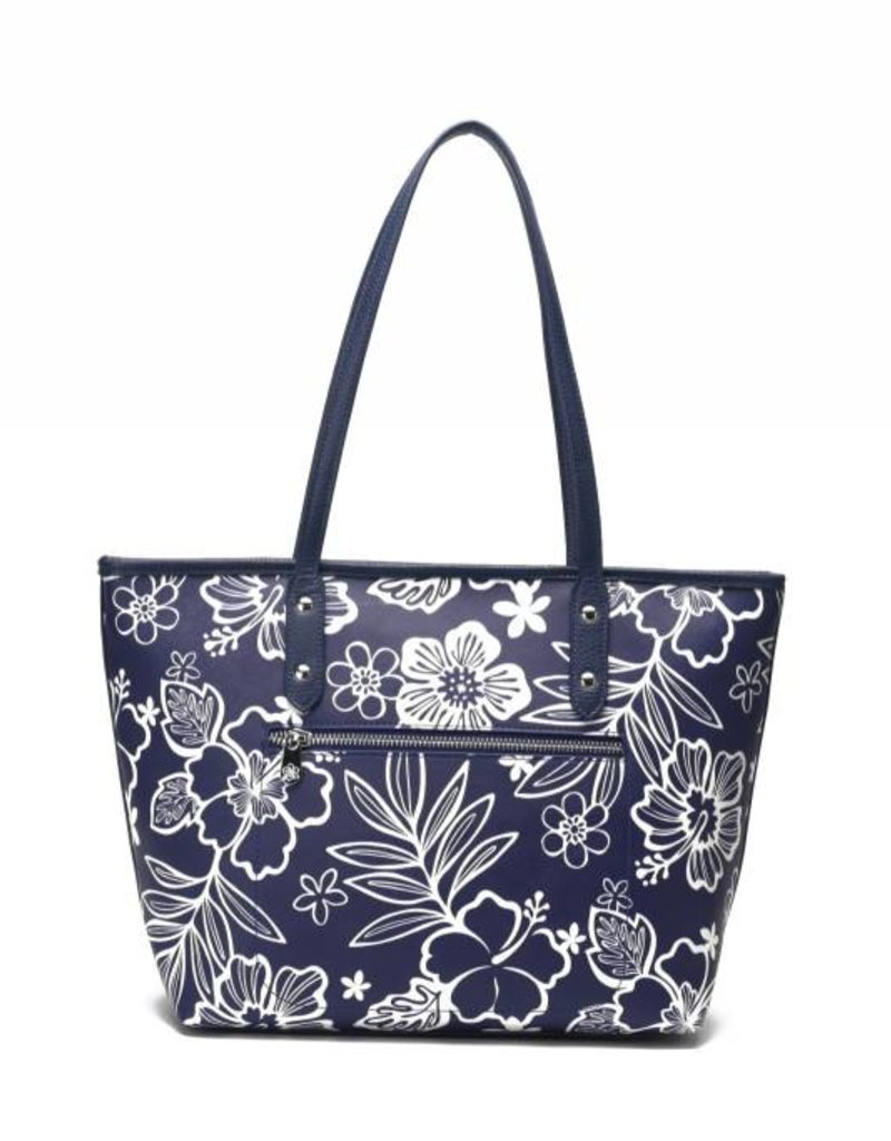 Happy Wahine Tote Lianne Hibiscus Blossom Blue