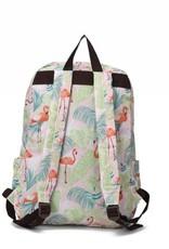 Nylon Backpack Song Flamingo Monstera Pink