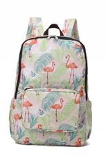 Happy Wahine Nylon Backpack Song Flamingo Monstera Pink