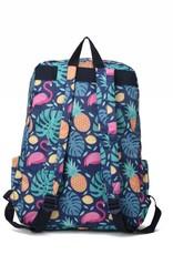 Happy Wahine Nylon Backpack Song Monstera Pine Blue