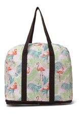 Happy Wahine Nylon Duffle Sophie Flamingo Monstera Pink