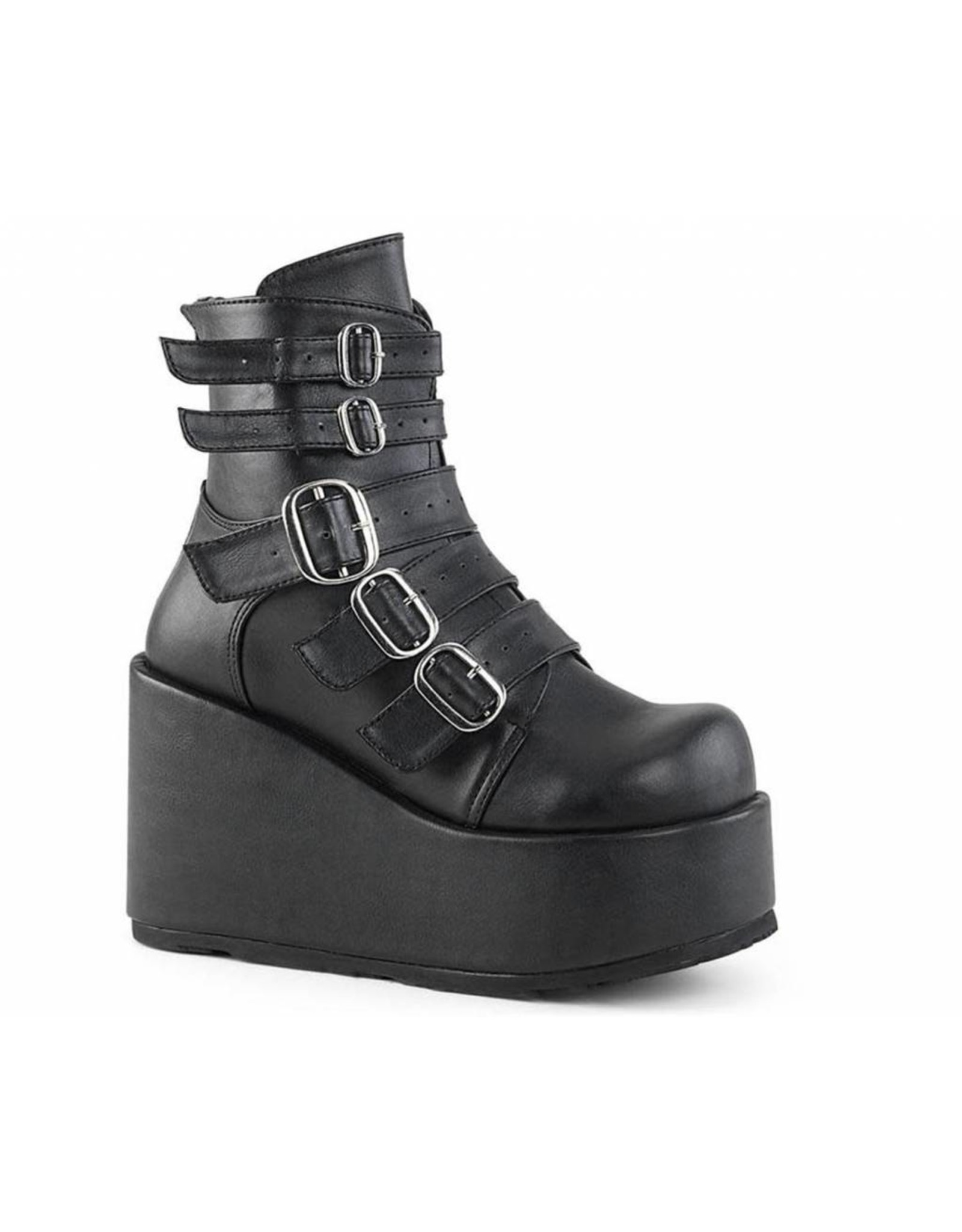 """DEMONIA CONCORD-57 4 1/4"""" PF Ankle Boot w/ Multi Buckle Straps, Back Zip D19VBS"""