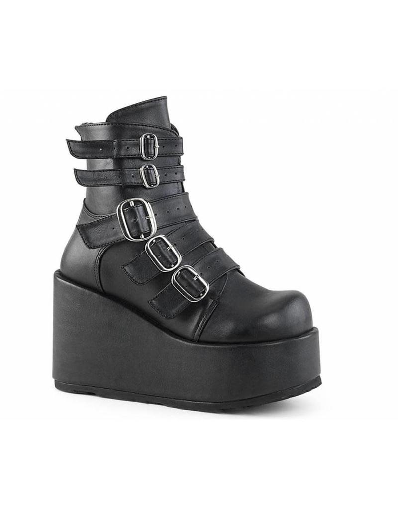 "DEMONIA CONCORD-57 4 1/4"" PF Ankle Boot w/ Multi Buckle Straps, Back Zip D19VBS"
