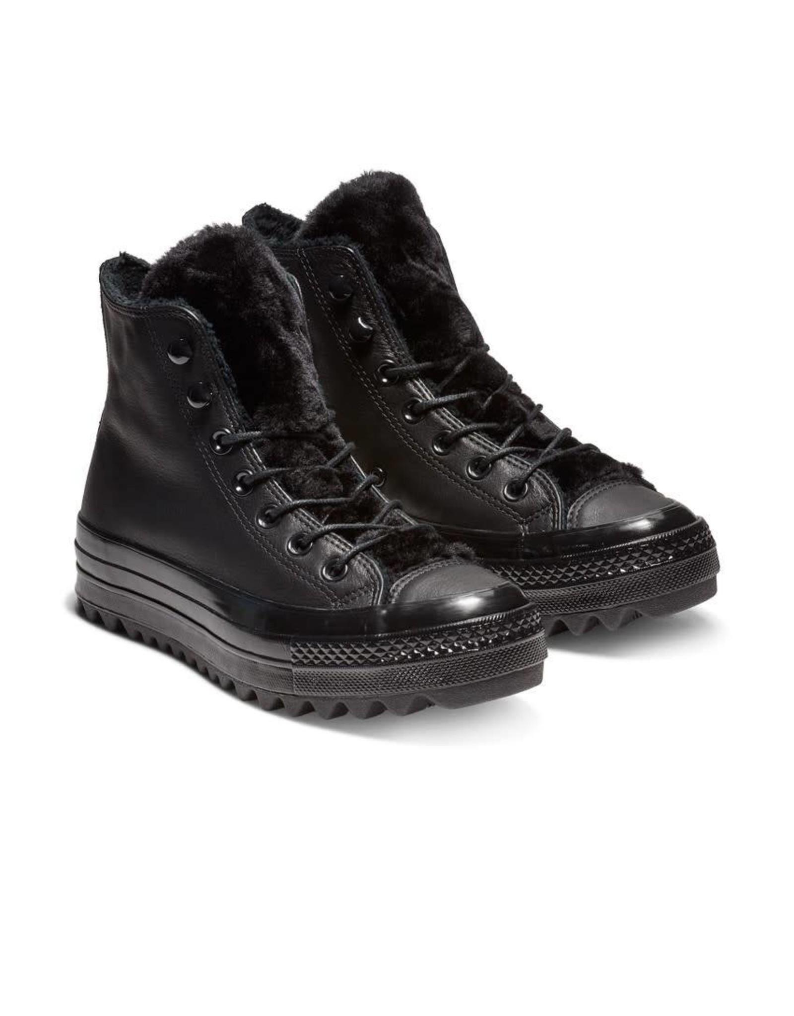 CONVERSE CHUCK TAYLOR LIFT RIPPLE HI CUIR BLACK/BLACK/BLACK C18LRB-562422C