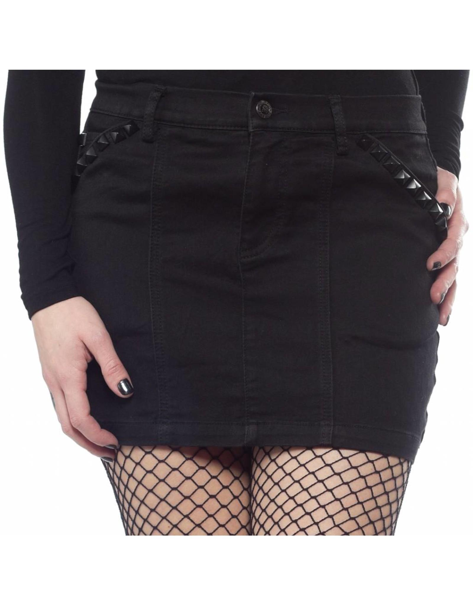 SOURPUSS - Black Studded Mini Skirt
