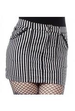 SOURPUSS - Striped Black & White Studded Mini Skirt