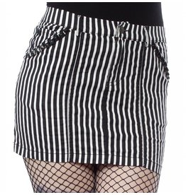 SOURPUSS - Striped Black & White Studded Mini Skirt