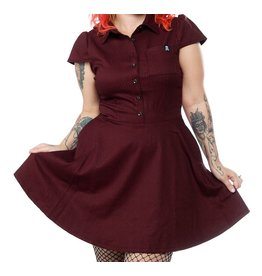 SOURPUSS - Checkered Oxblood Dress