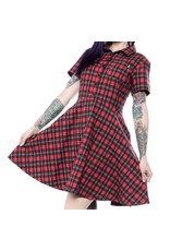 SOURPUSS - Button Down Red Plaid Dress