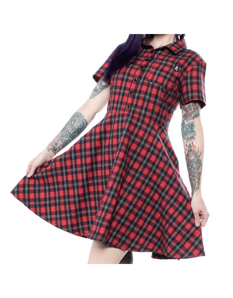 SOURPUSS - Button Down Red Plaid Dress
