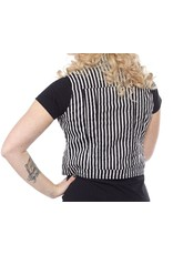 SOURPUSS - Black & White Striped Essential Vest