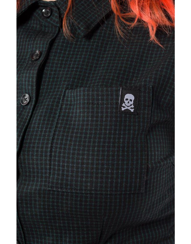 SOURPUSS - Checkered Hunter Green Dress