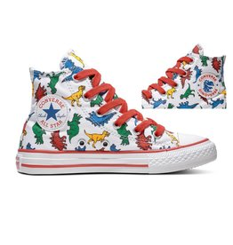 CONVERSE CTAS HI WHITE/ENAMEL RED/TOTALLY BLUE CZRB - 663636C