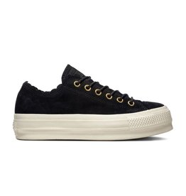 CONVERSE CHUCK TAYLOR ALL STAR LIFT OX LEATHER BLACK/GOLD/EGRET C13LBE-563499C