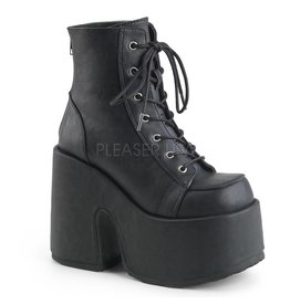 "DEMONIA CAMEL-203 5"" Chunky Heel, 3"" Platform Black Vegan Leather Boot, Metal Back Zip Closure D23VB"