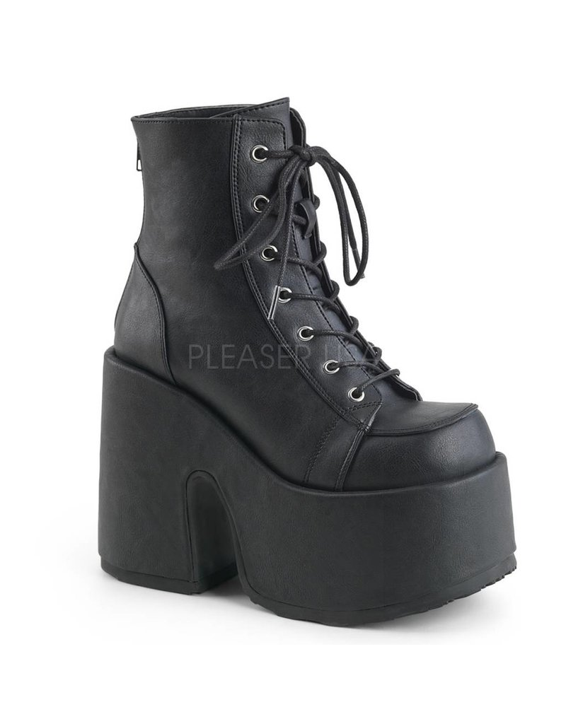 "DEMONIA CAMEL-203 5"" Chunky Heel, 3"" Platform Black Vegan Leather Boot, Metal Back Zip Closure D23VB"