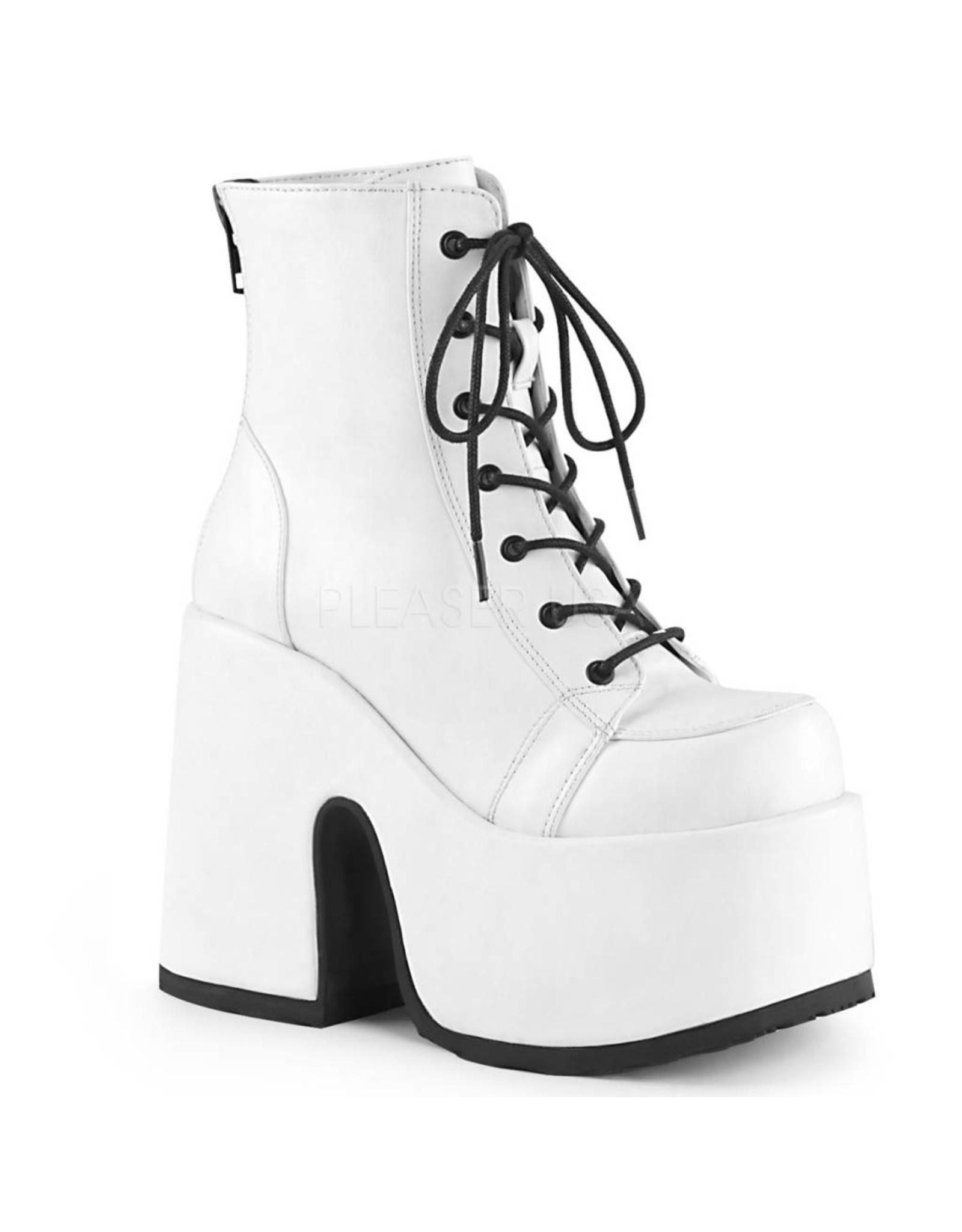 "DEMONIA CAMEL-203 5"" Chunky Heel, 3"" Platform White Vegan Leather Boot, Metal Back Zip Closure D23VW"