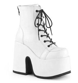 "DEMONIA CAMEL-203 5"" Chunky Heel, 3"" Platform White Vegan Leather Boot, Metal Back Zip Closure D23VW"