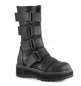 "DEMONIA LILITH-211 1 1/4"" Platform Front Strap Boot,Elastic Front Panel w/ 4 Hoop N' Loop Straps, Side Zip Closure D25VBS"