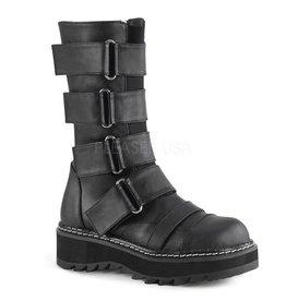 "DEMONIA LILITH-211 1 1/4"" Platform Front Strap Boot,Elastic Front Panel w/ 4 Hoop N' Loop Straps, Side Zip Closure D25VBS"