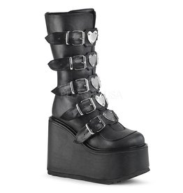 "DEMONIA SWING-230 5 1/2"" Platform Black Vegan Leather Boot, 5 Buckle Straps w/ Heart Shaped Metal Plates, Back Metal Zip Closure D26VBH"